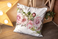 Soft Pillow Case,GROOTEY Fall Pillow Covers with Zip Couch Sofa Décor 20X20Inch Throw Cushion Isolated Seamless Border with Pink Flowers Leaves Vintage Watercolor Floral Pattern W