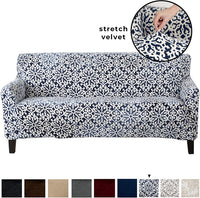 Velvet Plush Stretch Sofa Slipcover. Velvet Sofa Couch Furniture Protector, Soft Anti-Slip, High Stretch for 3 Seat Sofa. (Sofa- 3 Seater, Silver Cloud - Toile)