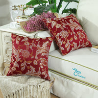 CaliTime Pack of 2 Throw Pillow Covers Cases for Couch Sofa Home Decor Vintage Floral Leaves 18 X 18 Inches Burgundy