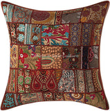 Stylo Culture Indian Decorative Large Throw Pillow Cover 24x24 Home Decor Brown Vintage Fabric Patchwork Cotton Living Room Couch Cushion Cover Floral 60x60 cm Pillow Case