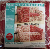 SURE FIT Reversible Sofa Slipcover Couch 74-96 inches Wide Nantucket Cinnabar Floral 2 Piece