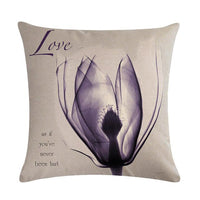 Tulip design Cushion Covers  Flower Cushion Cover Decorative Beige Linen Pillow Case