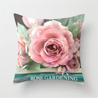 40*40cm Rose Flowers Pillow Case Cushion Cover Mediterranean Nordic Home Decoration Throw Pillow For Sofa Bed Car Pillow Case