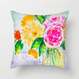 Fuwatacchi Colorful Flowers Oil Painting Cushion Cover Sunflower Roses Chrysanthemum Floral Throw Pillow Cover Floral Pillowcase