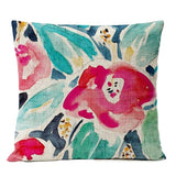 Home Decorative Throw Pillow Nordic Watercolor Floral Bird Pillow Cover Red Flower Cushion Cover sofa Linen Pillowcase