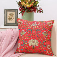 Cotton Linen Chinese Vintage Style Painting Lotus Flower Decorative Throw Pillows Case Cushion Cover Car Sofa Home Decor