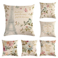 Rubylove 45cm*45cm Flowers And Blue Birds Pattern Linen Cushion Cover And Sofa Pillow Case Home Decorative Pillow Cover