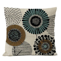 Home Decorative Throw Pillow Rustic Geometric Floral Pillow Cover Multicolor Flower Pillow Case Sofa Cushions 50*50cm
