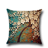 3D Painted Pillow Covers Tree Flower Soft Cotton Linen Cushion Cover Throw Pillowcase For Bedroom Home Decor Cushion Case