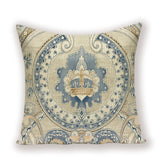 Nordic Decoration Home Blue Yellow Cushion Cover Flower Floral Living Room Cushions Custom Quality Flax Pillow Case 45 * 45