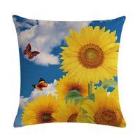 1pcs Sunflower Pattern Cotton Linen Throw Pillow Cushion Cover Car Home Sofa Bed Decorative Pillowcase Funda Cojin Pillows 40653