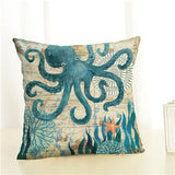 New Arrive  Aquatic Creatures  Linen Cotton Square Retro Floral Home Decor Throw Pillow Cushion Cover Cojines