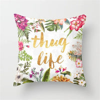 Flower Letter Printed Cushion Cover Polyester Pillow Case Decorative Pillow for Home Decoration Sofa Seat Decor Pillowcase 40858