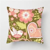 Fuwatacchi Birds and Flowers Cushion Covers Peony Painting Pillow Covers for Home Sofa Chair Decors Lamei Heart Pillowcase 45*45