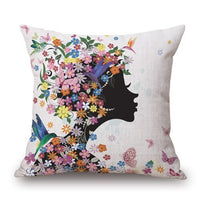 Beautiful Girls Printed Decorative Square Throw Pillow Case Cover Cushion Cover Floral Flower Funda Cojines 45x45cm