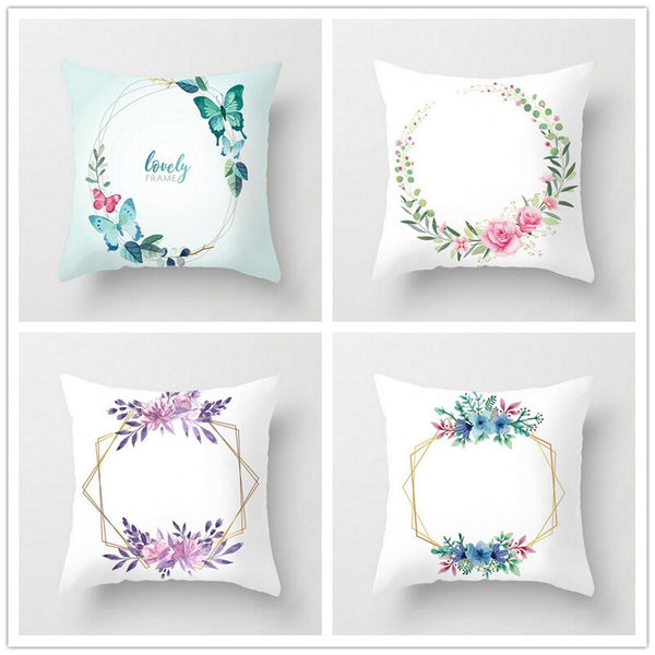 20 Colors Floral Printed Throw Cushion Covers Polyester Soft Pillow Covers Pillowcases for Seat Car Home Sofa Bed Decorative