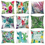 Print Flower Pillow Case Polyester Sofa Seat Car Cushion Cover Soft Bed Pillow Case Fundas Cojines DIY Home Decor