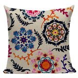 Floral Print Cushion Cover Bedroom Car Hotel Cotton Linen Home Decor Sofa 45x45Cm Vintage Modern Pillow Custom Pillow Case