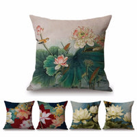 2018 Lotus Flower Hand Drawing Home Decorative Pillow Case Luxury Cotton Linen Ink Painting Floral Sofa Cushion Cover 45x45cm