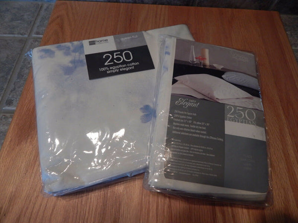JCPHOME COLLECTION,QUEEN FLAT SHEET, FLORAL BLUE HAZE/IVORY ,SIMPLY ELEGANT,TAGS