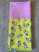 Homemade Pink And Yellow Cows Pillowcase - handmade, cotton, standard size