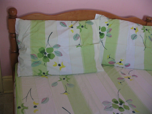 Green&Yellow Floral Fitted Sheet &Pillowcase Set Full Size Minty Green Violet10""
