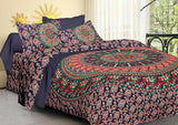 Indian Handmade Mandala Print 2 Pillow Cases Set Bedspread Bedsheet 100% Cotton
