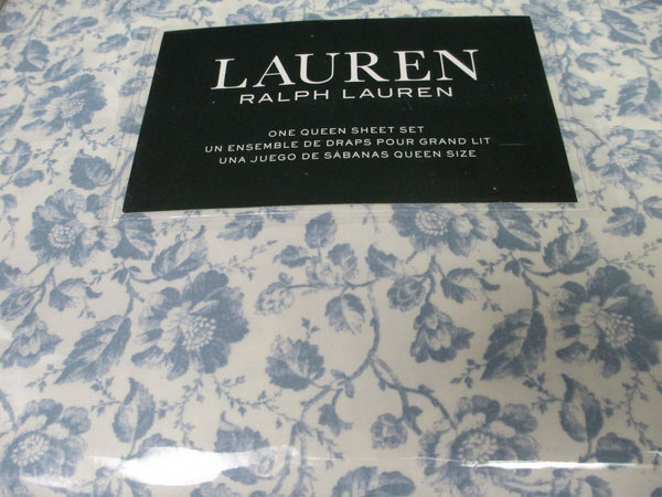 New Ralph Lauren Cotton 4pc Vintage Ivory Cream Blue Floral Sheet Set - Queen