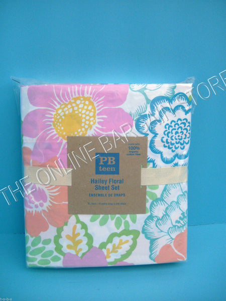 Pottery Barn Teen Hailey Floral Flower Blooms Bed Dorm sheets Set XL Twin