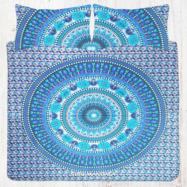 Indian Floral Mandala Bedding & Bohemian Queen Size Bed Sheet Set Pillow Cover