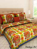 King Size Jaipuri Elephant Traditional 100% Cotton Bed Sheet 2 Pillow Covers Set