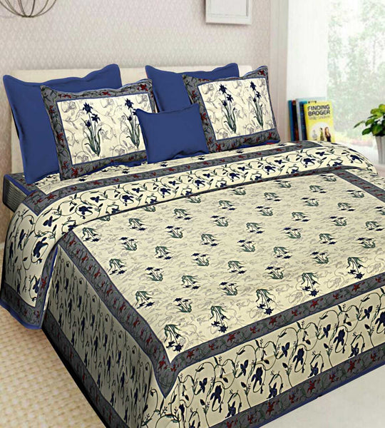 New Color Floral Printed 100% Cotton New Bedsheet 2 Pillow Cases Set Bedspread