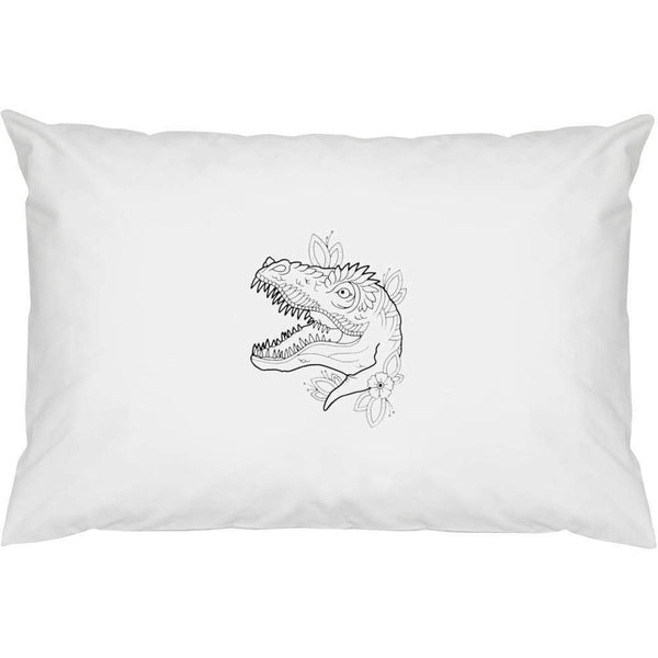 2 x Dinosaur Head 'Floral' pillowcases cotton (pw00002067)- show original title
