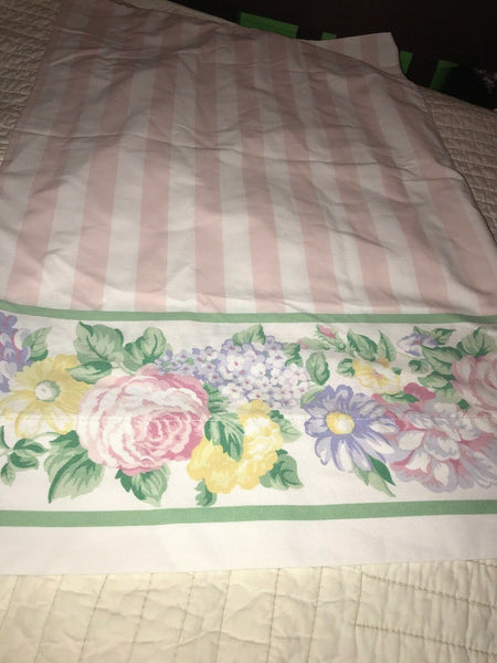 Westpoint Stevens Single Standard Floral Pink Striped Pillowcase Flowers Bedding