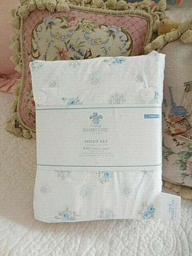 ️ SWEET Simply Shabby chic TWIN blue Medallion Rose sheet set beach Cottage ️