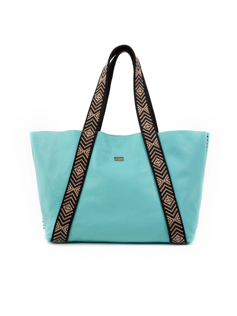 Sylvie aqua large leather tote