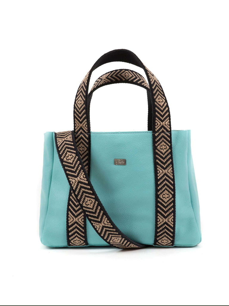 Sylvie aqua medium leather tote