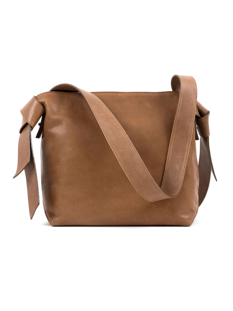 Mandie cognac bows leather shoulder bag