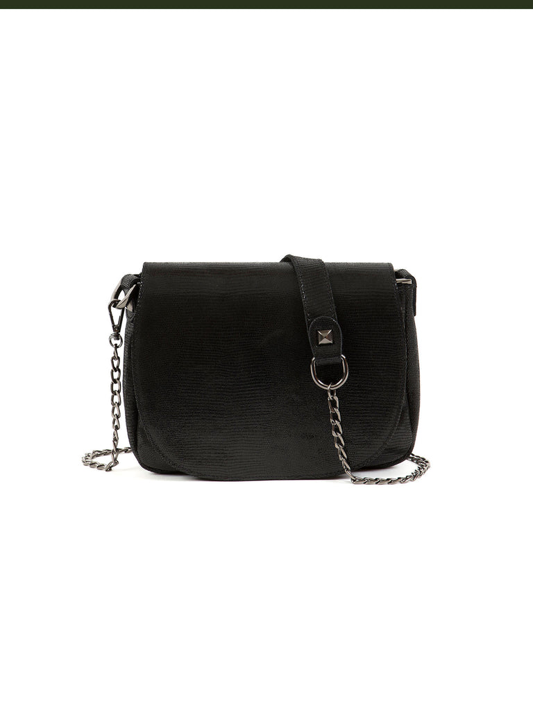 Myriam black leather chain shoulder bag