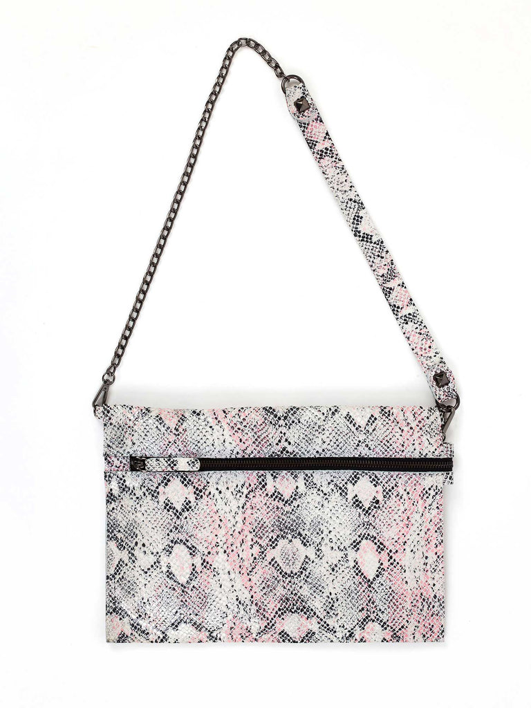 Nina pink snake print small crossbody bag