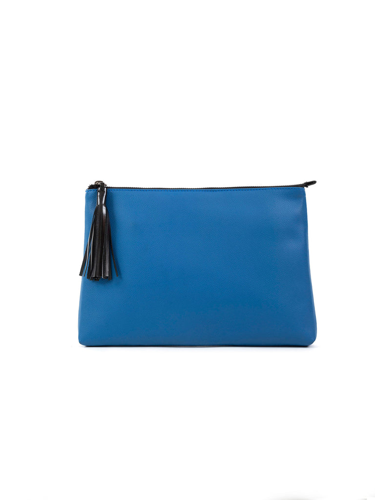 Eve eco-leather blue large clutch