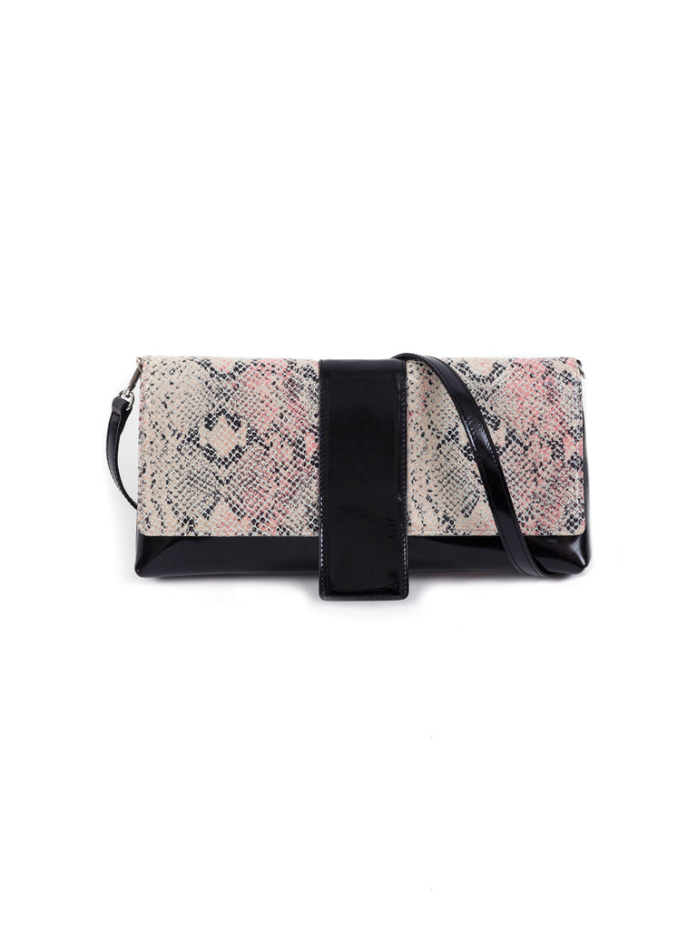 Giselle pink and black leather shoulder bag