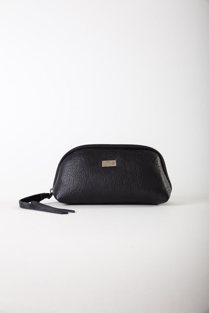 Aida black leather medium pouch