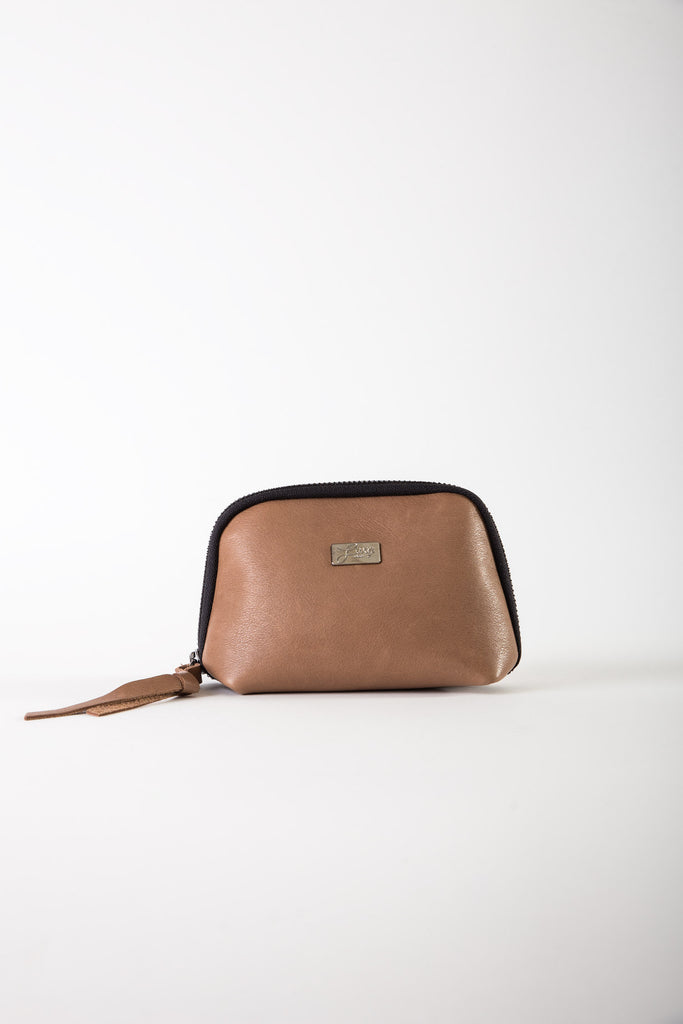 Aida brown leather mini pouch