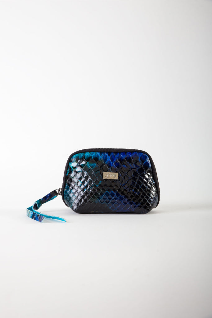 Aida blue python print leather mini pouch