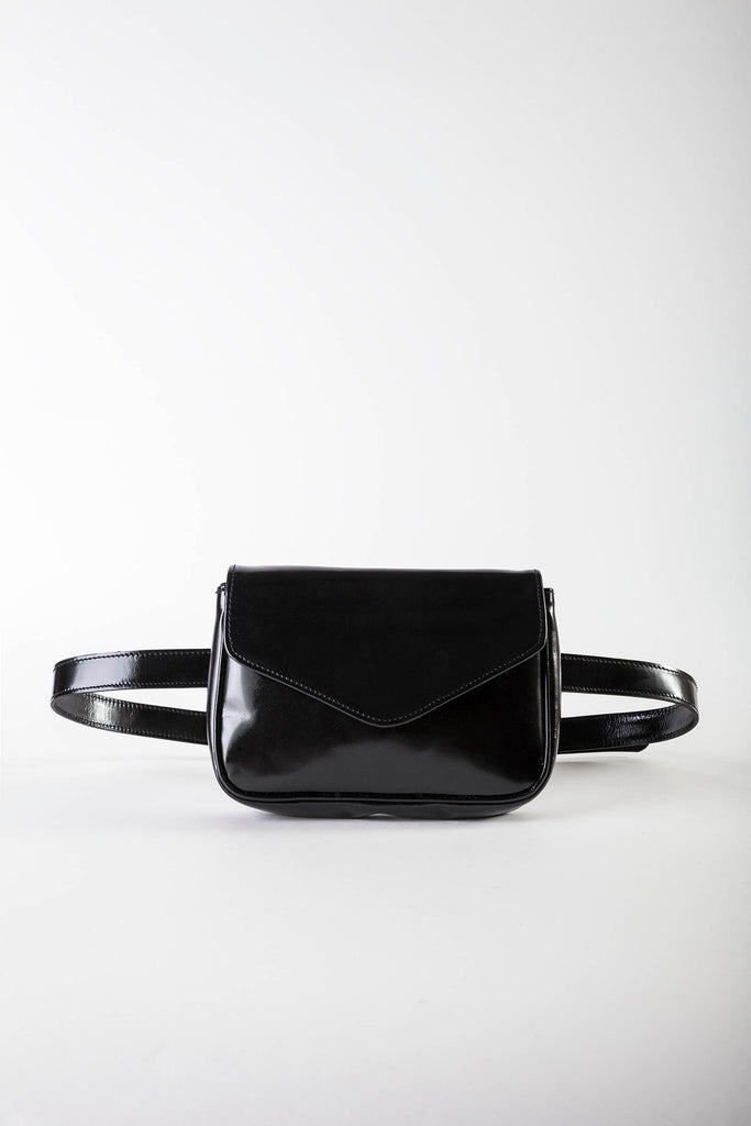 Melia black patent belt bag