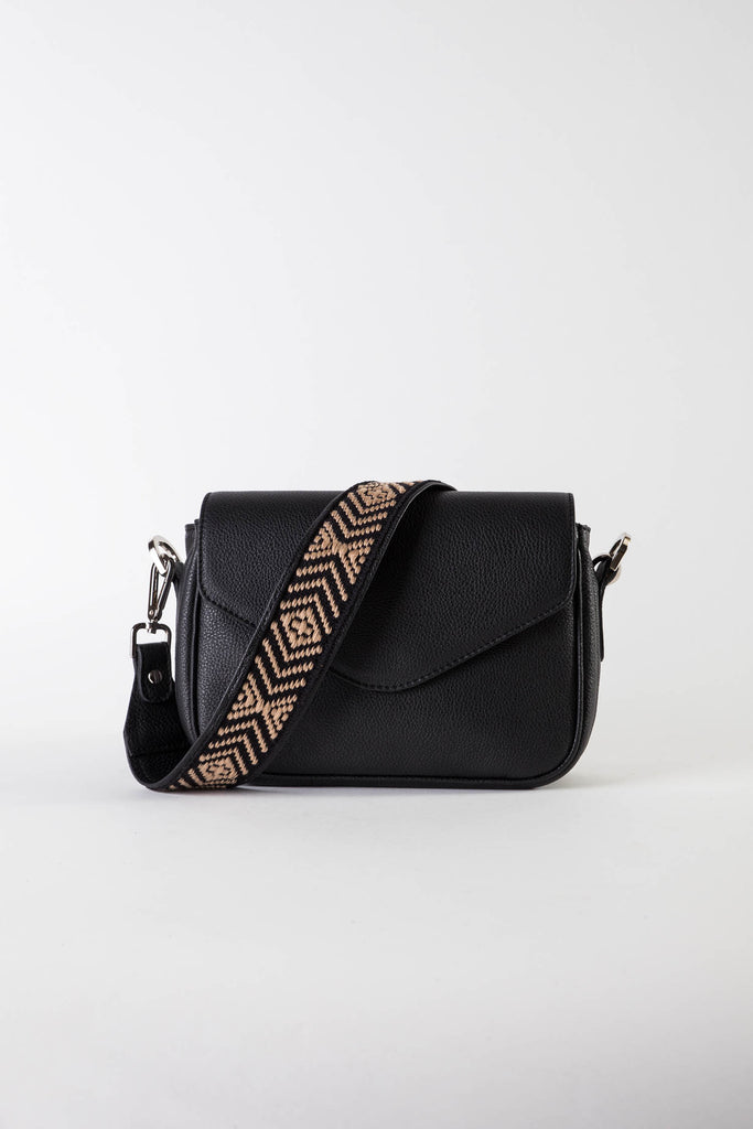 Myriam black leather strap shoulder bag