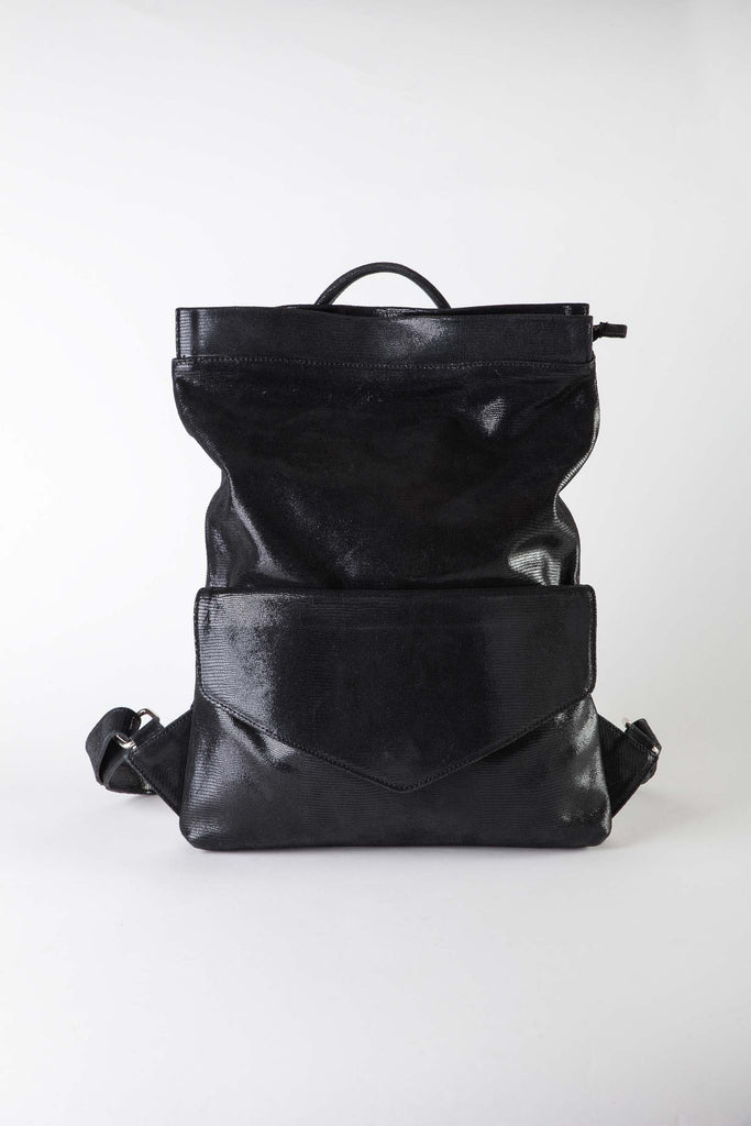 Leslie black suede backpack