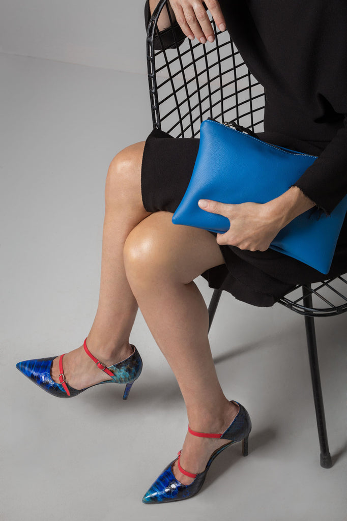 Stella blue python print and red pumps
