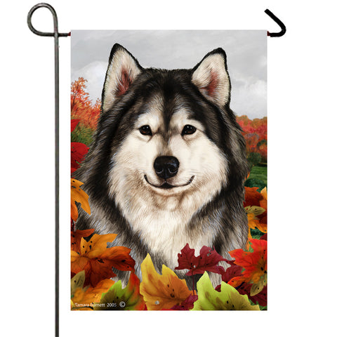 Alaskan Malamute - Best of Breed Fall Leaves Outdoor Flag